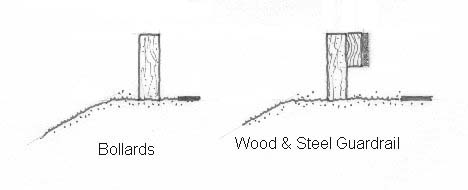 Wood and Steel Guardrail and Bollards